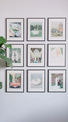 paintings with ivory matte in frames. I recently had the fun idea to start offering sets of paintings from your wedding day. I love a big beautiful painting but I think it's also cool to offer a panorama of your whole wedding day start to finis Gallery Wall Layout, Gallery Wall Frames, Picture Frames On Wall, Wall Of Frames, Ikea Gallery Wall, Floating Picture Frames, Travel Gallery Wall, Wall Groupings, Art Frames