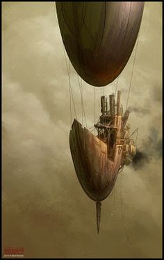 steampunk airship #steampunk #transport #canals