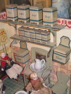 Fully Appointed German Kitchen Room Box with RARE Enamel Accessories and 4 Dolls!