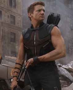 "Jeremy Renner as Hawkeye in the 2012 Marvel movie ""The Avengers""."