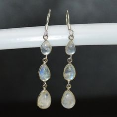 15% discount coupon code -- DEV020 Classic Design Earring of Rainbow Moonstone in by DevmuktiJewels