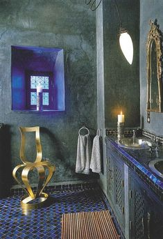 Blue at its maximum feeling very Moroccan. I particularly love the bright blue accent in the recessed of the window.