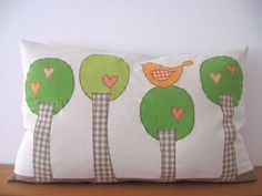 Applique Green Tree Bird Decorative Pillow Accent Throw Patchwork Cover Case Apricot Orange Kids Baby Room Nursery Bohemian Chic Decor OOAK by TalesSweetTale on Etsy https://www.etsy.com/listing/224787230/applique-green-tree-bird-decorative