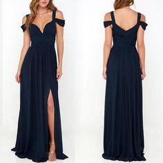 Long bridesmaid dress, Navy Blue bridesmaid dress, Chiffon bridesmaid…