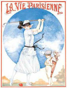 LA VIE PARISIENNE Womens Golf Poster Print. La Vie Parisienne magazine in Paris sometime in the early decades of the 20th century, shows a gorgeous woman on a heavenly golf course, about to tee off on a man's heart, with Cupid himself acting as her caddy! Available at www.sportsposterwarehouse.com