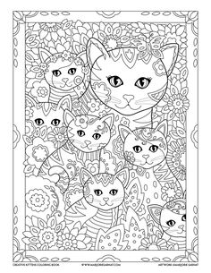Mom and Kitties : Creative Kittens Coloring Book by Marjorie Sarnat