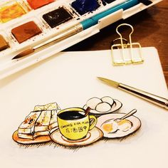 原本一起约好吃早餐却睡迟了。最后早餐當午餐。 這家咖啡館早在1940年就成立了。 #breakfast #chongkokkopitiam #kopitiam #watercolor #midori #travelersnotebook #painting #journal #dalerrowney #instaart #水彩 #手帳 #手繪 #vsco #vscophile #igersmalaysia #midoritravelersnotebook