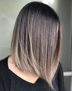 Straight Bob with Subtle Balayage for Brunettes