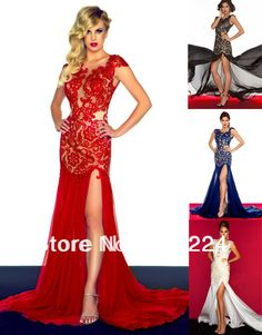 Elegant 2014 New Arrivals Sexy Beaded Lace Side Slit Sheer Red Blue White Black Chiffon Formal Evening Dress Prom Gown ZX017