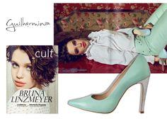 Scarpins verde menta Guilhermina na revista Cult
