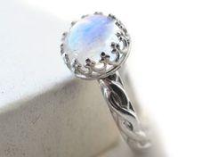 Celtic Rainbow Moonstone Ring Custom Engraved White by fifthheaven