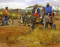 Paintins country and farm South Africa Art, Out Of Africa, Nepal Culture, Black Art Painting, African Art Paintings, South African Artists, Wildlife Art, Donkeys, Route 66