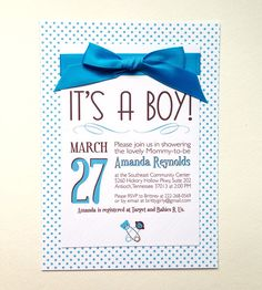5x7 Boy Themed Baby Shower Invitations. Includes envelopes of coordinating color scheme.    Click to see more in my store!
