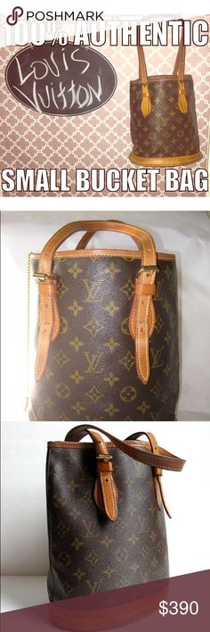 💯 % authentic Louis Vitton smaller bucket bag Perfect size LV Not to big and not to small ,nicely patina'd on handles , no imperfections on the outside , the inside has some visible signs of wear but nothing that affects the outward appearance of this classic bag , really nice bag .will post pics of inside upon request Louis Vuitton Bags Totes
