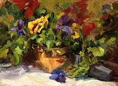 Pansy Pots by Jeanne Mackenzie Oil ~ 12 x 16, a friend, lost touch
