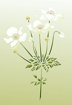 Little Japanese Anemone Flower Stencil