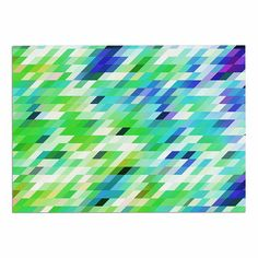 KESS InHouse Dawid Roc 'Colorful Summer Geometric' Green Abstract Dog Place Mat, 13' x 18' *** Quickly view this special dog product, click the image : Dog food container