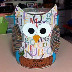Owl Classroom Ideas | Owl Themed Classroom ideas / Owl Valentine cans for classroom