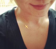 Tiny 14k Gold Filled Sideways Cross Necklace - All 14k Gold Filled - Everyday Jewelry. $23.90, via Etsy.