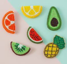 Embroidery brooch, Tropical Jewelry, Set Brooches, Fruit Broch Beadwork Brooch Beaded brooch Summer jewelry Embroidery patch Hand Embroidery - gifts for boyfriend Bead Embroidery Tutorial, Bead Embroidery Jewelry, Beaded Embroidery, Hand Embroidery, Jewelry Patterns, Bracelet Patterns, Beading Patterns, Peyote Patterns, Brooches Handmade
