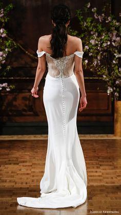 isabelle armstrong bridal spring 2017 off shoulder semi sweetheart column wedding dress (montana) bv sheer back elegant train