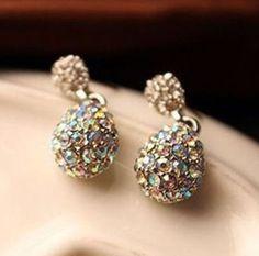 Elegant Silver & Multicolor Rhinestones Alloy Dangle Earrings Versatile NEW  #DropDangle