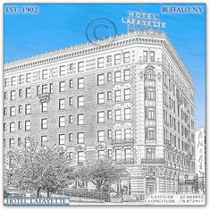 B & W Digitized photo wall art of Hotel Lafayette in Buffalo NY by jman photo. This Buffalo, NY image was personally photographed and digitally edited by myself. All images are personalized with the following information:  -latitude/longitude coordinates -established date -city/state -title   Available for sale in various background colors. Latitude And Longitude Coordinates, New York Buildings, New York Photography, Historical Images, City State, Famous Places, Photo Wall Art, Colorful Backgrounds, Buffalo