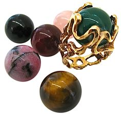 """Gilbert Albert, """"Lost my Marbles"""" Gold and Agate Ring, circa 1970 (Kimberly Klosterman via Marble Jewelry, 18k Gold Jewelry, Agate Jewelry, Agate Ring, Unique Jewelry, Jewelry Rings, Jewelry Design, Yellow Gold Rings, Fashion Rings"""