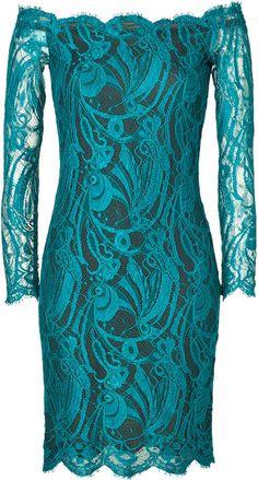 Emilio Pucci Shinning Petrol Lace Dress in Blue (petrol)