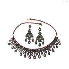14k Gold Emerald Ruby Diamond Pave Chandelier Earrings & Necklace Set 925 Silver #Handmade