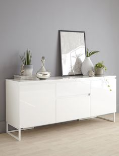 High Quality White Gloss Sideboard with Designer Detailing Exclusive to Danetti Sideboard Decor, Dining Room Sideboard, Dining Room Storage, Modern Sideboard, White Sideboard Buffet, White Leather Sofas, Best Leather Sofa, Living Room Sofa, Living Room Furniture