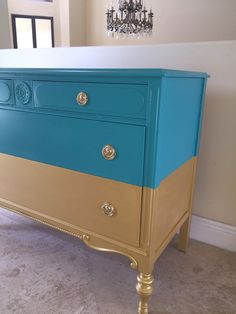 Dresser With Tv, Rustic Dresser, Trash To Treasure, Teal And Gold, Gold Dipped, Paint Finishes, Chalk Paint, Painted Furniture, Console