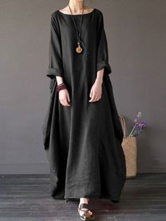 c40a2e5af2a Plus Size Women Cocoon Daily Long Sleeve Casual Solid Dress