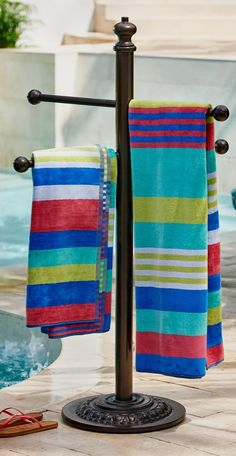 This Cast-Aluminum Towel Stand is decorative and functional — it will serve poolside duty for seasons to come.