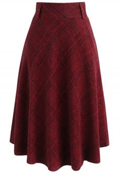 Houndstooth Check Wool-blend A-line Skirt in Red