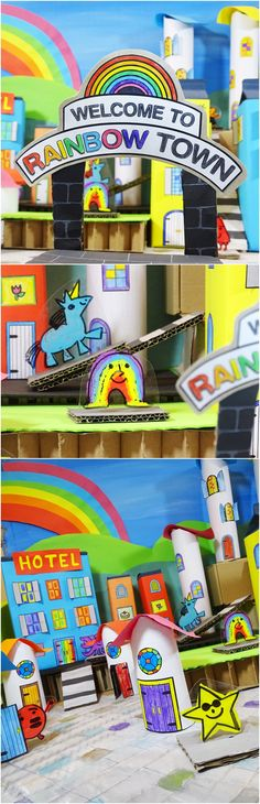 How to Create a Recycled Rainbow Town with Kids. Great recycled paper craft, school group project or kids party game. How to Create a Recycled Rainbow Town with Kids. Easy Arts And Crafts, Easy Crafts For Kids, Projects For Kids, Art For Kids, Children Crafts, Kid Art, Kids Diy, Toddler Crafts, Art Projects