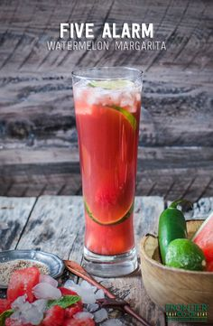 Enjoy a watermelon margarita this summer! This version features a kick of jalapeño and a soft flavor of hibiscus flowers. | via frontiercoop.com