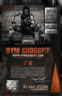 Gym Crossfit Fitness Flyer This flyer is great for gym, cross fit, barbell, bodybuilding, fitness, sport workout or sexy disco party.