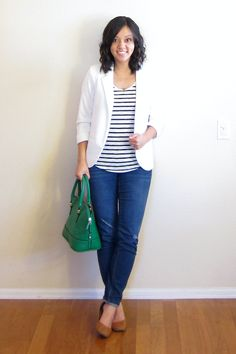 Have: jeans, white blazer Need: bright coloured statement bag, striped top