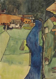 Egon Schiele, City on the Blue River, 1910 on ArtStack #egon-schiele #art