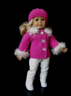 NEW !!! Great holiday gift; Deep Pink Fuchsia 18 American Girl AG DOLL clothes by KNITnPLAY, $24.99