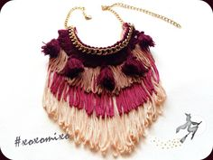 """Aquarius"", Boho fringe statement necklace"