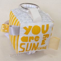 Handmade, interactive baby soft block by Babee and Me. Handmade in Byron Bay, Australia. You are my sunshine.