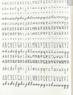Schriftarten Hand written lettering different fonts practice alphabet Bullet Journal Titles, Bullet Journal Aesthetic, Bullet Journal School, Bullet Journal Fonts Hand Lettering, Bullet Journal Ideas Handwriting, Bullet Journal Writing Styles, Hand Lettering Alphabet, Handwriting Fonts Alphabet, Penmanship