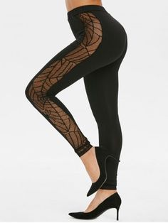 Spider Web Lace Panel Halloween Leggings from dresslily Cheap Leggings, Floral Leggings, Black Leggings, Halloween Leggings, Halloween Costumes, Halloween Clothes, Cute Clothes For Women, Skinny, Lace Design