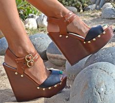 "Towering Double Ankle Strap ""Molita"" Platform Wedge Sandals"