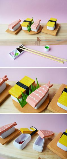 Japanese Bento Set - Handpainted sushi figurine miniature - small container -trinket box - 3d printed - tamago - shrimp - 3d printing - design - product design - object design - kawaii - cute - perfect Christmas gift or stocking filler - secret Santa