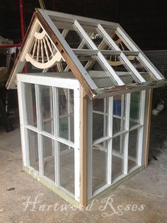Mini Greenhouse made from Salvaged Windows . Hartwood Roses Mini Greenhouse made from Salvaged Win Old Window Greenhouse, Cheap Greenhouse, Home Greenhouse, Greenhouse Interiors, Greenhouse Ideas, Homemade Greenhouse, Portable Greenhouse, Miniature Greenhouse, Backyard Playhouse