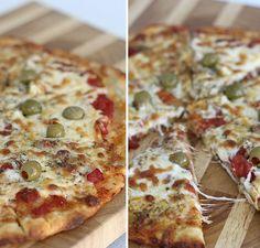 Pizza Estilo Siciliana (Grossa) - Pam*B Super Pizza, Pizza Vegetal, Canadian Cuisine, White Pizza Recipes, Confort Food, Pasta, Light Recipes, Finger Foods, Vegetable Pizza