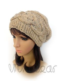 Hand Knitted Cable Slouchy Hat. Buff Fleck (Oatmeal) or 43 colors. Worm Beanie. Women's Hat. Warm Autumn Fall Winter Accessory. by VividBear on Etsy